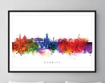 Cardiff Skyline, Cardiff Wales Cityscape Art Print, Wall Art, Watercolor, Watercolour Art Decor