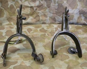 2 Antique Handhammerd Cowboy Western Spurs