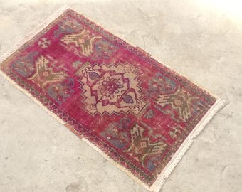 Turkish Overdyed Rug,2u00276u0027u0027x1u00274u0027u0027ethnic Soft
