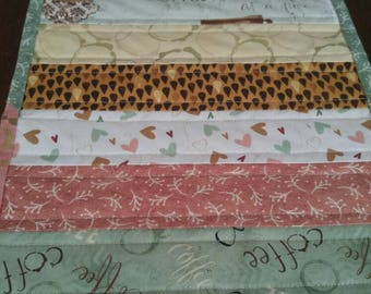 MINI Quilted Table Runner, But First, Coffee! by Katie Doucette, Wilmington Prints, Topper, Table decor, Handmade, Centerpiece, Coffee Table