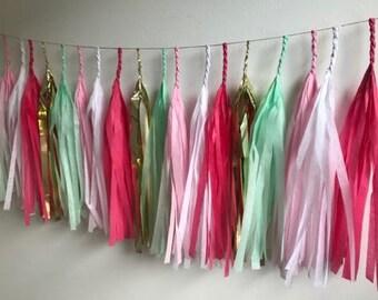 Fully Assembled Tassel Garland,Tissue tassel banner,Baby shower banner,Wedding garland,garland banner,Mint Peach Pink and gold tassel garlan