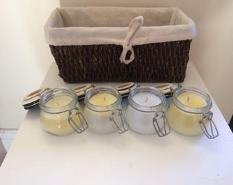 Set of four, vanilla scented, yellow and white mason jar candles