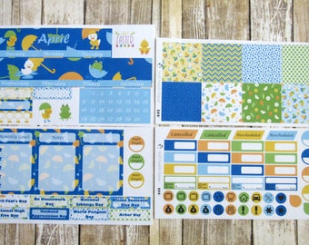 April Monthly Sticker Set, BIG HAPPY PLANNER, April Showers Monthly, Rainy day monthly