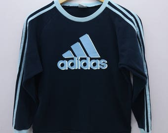 Vintage Adidas Sweatshirt Big Logo Sportswear Street Wear Round Neck Pullover Sweater Size 150