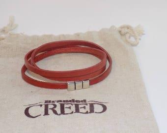 Triple wrap narrow leather bracelet, multi-wrap leather bracelet, leather layering bracelet, women's leather bracelet, mens leather bracelet