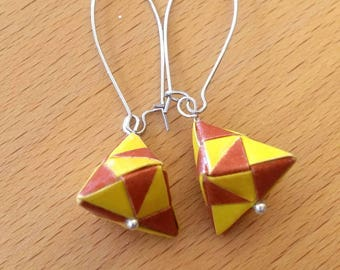 Yellow and Brown  Origami Jewelry - Pyramid Paper Earrings - Paper Jewelry - Moular Origami Earrings-Dange Earrings
