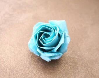 Origami Rose Brooch, Origami Jewelry, Origami Flower Brooch, Origami Blue Color Rose Brooch ,Paper, Anniversary,Christmas Gift