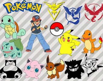 Pokemon Svg Bundle, Pokemon Clipart, dxf cut files, Pokemon png and vector for cricut, Pikachu svg, Pokeball clipart, Pokemon Team logo svg