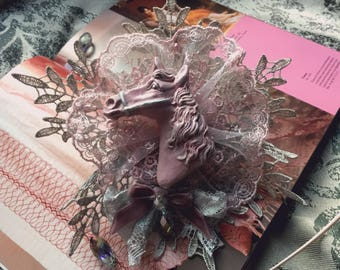 "Brooch/headdress ""Sleipnir"" in pinkxsilver (sweet lolita, classic lolita, mori, cult party kei, dolly kei, hime gyaru, ouji)"