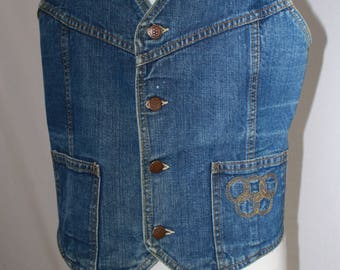 Vintage Olympic Denim Vest,Rare, Collectible Olympic Apparel,