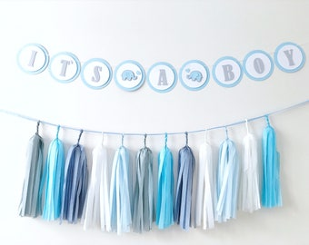 Elephant Boy Baby Shower Decorations Elephant Baby Boy 1st Birthday Its a Boy Banner Sign Blue Gray Party Kit Baby Shower Tassel Garland