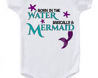 Mermaid fishtail purple and teal born in the water basically a mermaid bodysuit for a baby or small child  multiple sizes available