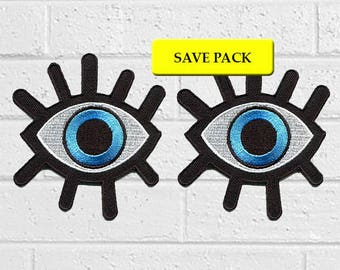 Blue Devil Eye Patch - Art Patch -Iron On Patches - Save Pack - Value Pack