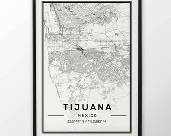 Tijuana City Map Print Modern Contemporary poster in sizes 50x70 fit for Ikea frame 19.5 x 27.5 All city available London New York Paris