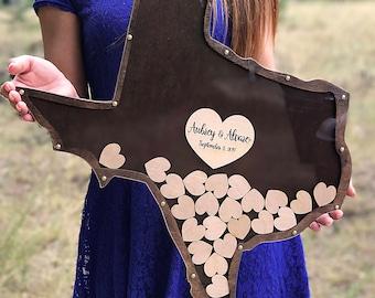 Texas Shape Wedding Guest Book, Alternative Wedding GuestBook, Wedding GuestBook, Drop Box, Guest book hearts Wedding Guest Book Alternative