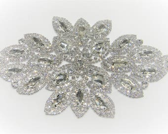 Crystal Applique, Rhinestone Applique, Bridal Applique, Applique, Beaded Rhinestones, Swarovski Applique Silver/rose gold #30892