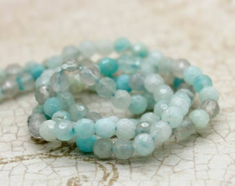 Amazonite Faceted Round Natural Gemstone Beads (4mm)