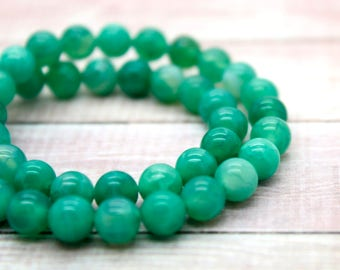 Green Fire Agate Stone Round Beads Natural Gemstone (4mm 6mm 8mm 10mm 12mm)