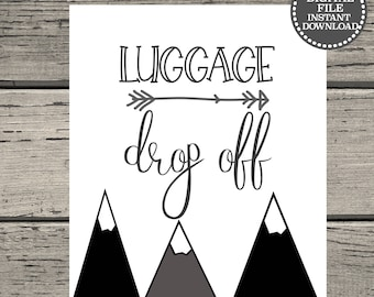 Luggage Drop off Sign Instant Download, Adventure Baby Shower Decorations, Printable Baby Shower Sign, Adventure Baby Shower Decor Printable