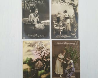 Vintage German postcards from 1918 - 1921 - With postal stamp