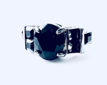 Black CZ 10k Gold Filled Ring size 6