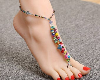 Stone Anklet Stone Anklet Boho ankle bracelet Bare feet ankle bracelet Womens ankle  bracelet Indian Anklet  barefoot ankle bracelet