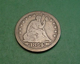 Seated Liberty Quarter 1854 VG / The coin you see is the coin you get.  <>ET5161