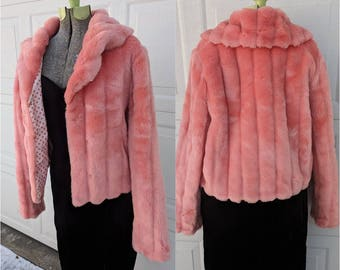 Vintage 90's ABSOLUTELY STUNNING Pink Faux Fur Jacket w Pockets || Vintage 90's Super Soft Pink Fur Coat, LARGE