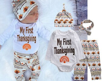 Baby Thanksgiving Outfit, 4 piece Thanksgiving Day Outfit, baby girl baby boy onesie, My first Thanksgiving, hat headband onesie and pants