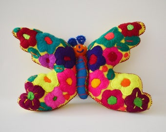 Handmade stuffed butterfly made out of wool from Chiapas, Mexico