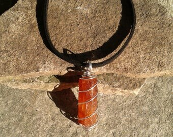 Hessonite Necklace, Raw Genuine Hessonite Garnet Necklace, Sterling Silver Wire Wrapped, Healing Gemstone, January Birthstone
