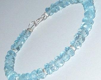 Handmade Topaz and Sterling Silver Bracelet women November Birthstone Crystals Blue Bracelet