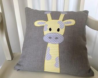 Handmade giraffe cushion for baby's nursery or child's bedroom.