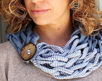 Gift scarf Scarf Original closed neck with coconut button, hand-woven cotton with greyish blue color and Stripes