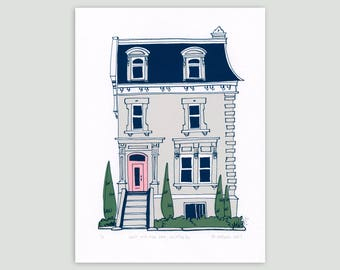 Montreal House in Grey/Pink – Limited Edition Screen Print