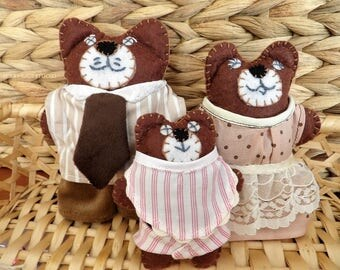 Teddy Bear Miniatures, Bear Family, Dolls House Figures, Felt Characters, Bears, Papa, Mama & Baby Bear, Nursery Decor