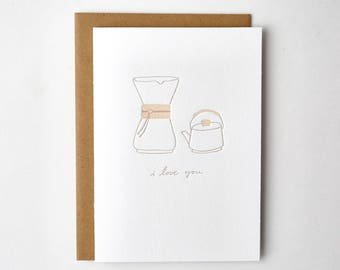 Chemex Coffee Letterpress Greeting Card