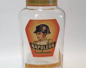 Large Napoleon Bonbons Heavy Glass Candy Jar from 1960s/Country French Decor