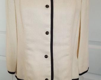 Vintage Evan Picone White  Chanel Style Raw Silk Jacket