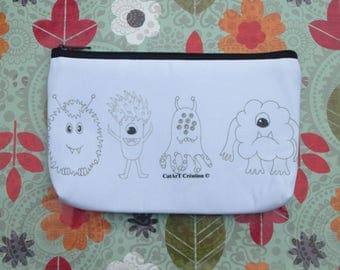 multiple use, original artwork print makeup case.