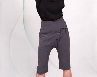 Harem Pants/ Grey Casual pants/ Drop-Crotch Trousers/Loose/ Knee length/ Button fastening / Cropped pants