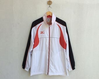 Vintage 90's Mizuno Zipper Trainer Jacket Embroidery Small Logo