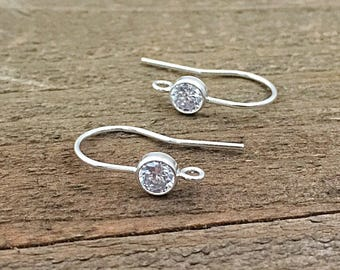 Sterling Silver Ear Wires, Silver French Hooks with Cubic Zirconia, EWRS012