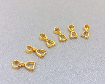10 Small Bails, Brass Bails, Tiny Bails, Ice Pick Bail, Pinch Bail, Gold Bail, 13mm x 5mm, CLSPB014