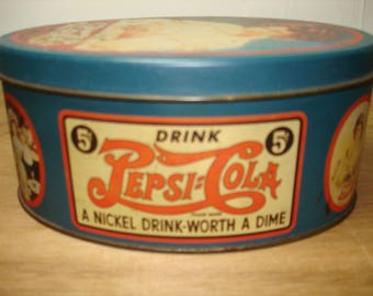 Vintage Small Pepsi-Cola Advertising Tin /Canister/Container, Gibson Lady & Sign