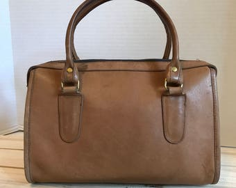 COACH Vintage Leather Speedy Bag // Doctor Bag // Handbag Tan Leather 1960's Made In USA