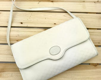 GUCCI Monogram Canvas White Crossbody Bag // Clutch // 1980's