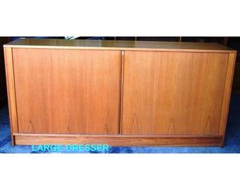 Mid Century Modern Danish Teak Dresser Set W/Tambour Door Bedroom