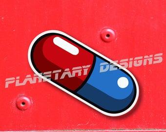 Akira Anime Capsule Biker Gang Pill Logo Red Blue 3x4