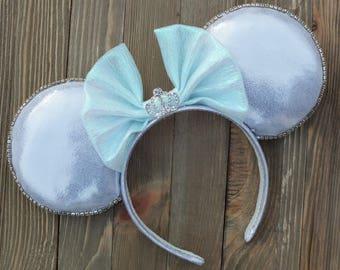 Minnie Mouse Ears, Mickey Ears, Disney Ears, Cinderella Minnie Ears, Cinderella Mouse Ears, Cinderella